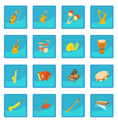 Musical instruments icon blue app vector
