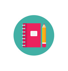 notebook and pen - concept icon in flat graphic vector image
