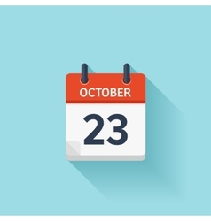 October 23 flat daily calendar icon Date vector image