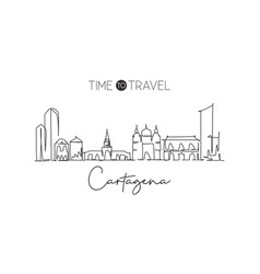 one single line drawing cartagena city skyline vector image