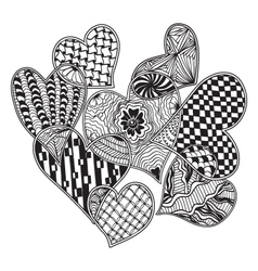pattern of hearts ornate zentangle style vector image