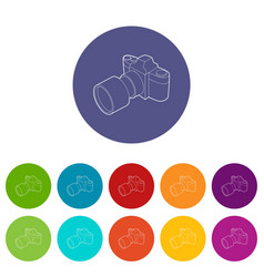 Photo camera with lens icon outline style vector