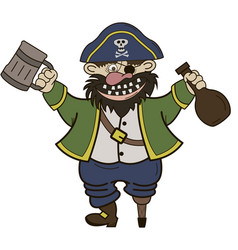 pirate with a mug and a bottle rum vector image