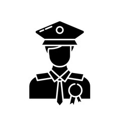 Police officer black glyph icon vector