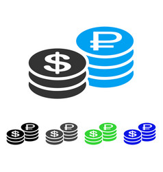 Rouble and dollar coins flat icon vector