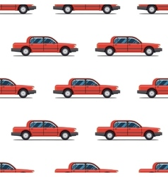 seamless pattern of red cars Limo sedans vector image