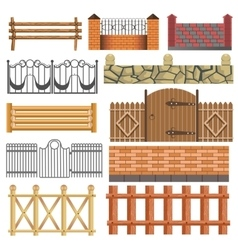set different fence design vector image