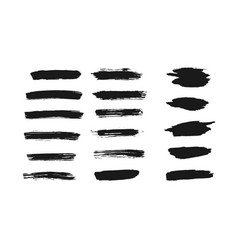 set of isolated black thick ink brush strokes vector image