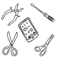 Set of office equipment and tools doodle icons vector