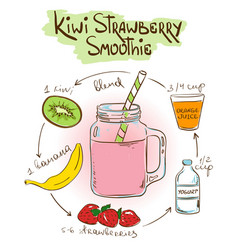 Sketch Kiwi Strawberry smoothie recipe vector