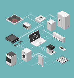 Smart house and electrical control isometric vector