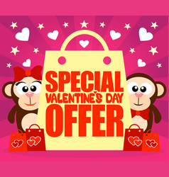 Special valentines day offer card with monkeys vector