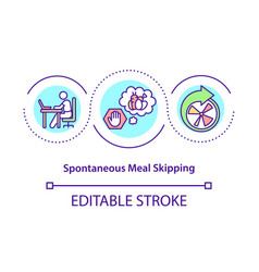 Spontaneous meal skipping concept icon vector