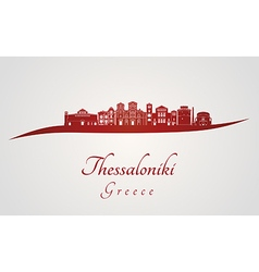 Thessaloniki skyline in red vector image