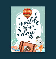 Tourism day poster design with luggage hat vector