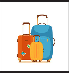 Travel suitcase cartoon colorful concept vector
