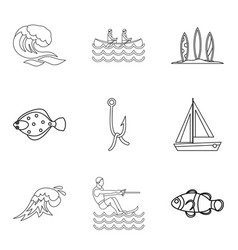 Tropical vacation icons set outline style vector