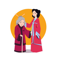 two asian woman in japanese kimono young girl and vector image