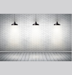 White brick wall room with vintage lamps vector