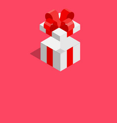 white giftbox with red ribbon on pink background vector image