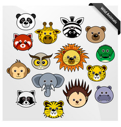 Wildlife animal cute cartoon a set cute vector