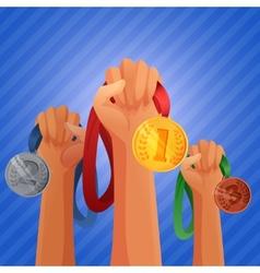 Winners hands holding medals vector