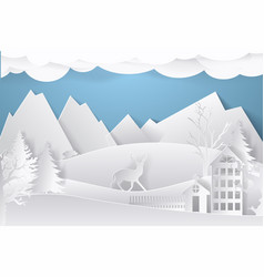 winter landscape in paper style mountains trees vector image