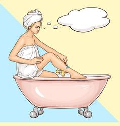 Woman shaving legs with razor cartoon vector