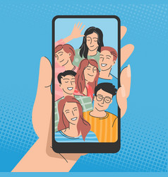 young people posing for selfie vector image