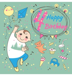 Birthday of the little boy 4 years vector image