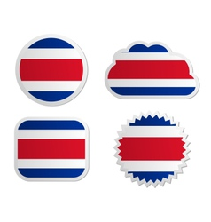 Costa Rica flag labels vector image vector image