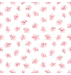 Hibiscus Flowers Pattern Hand-Drawn vector image