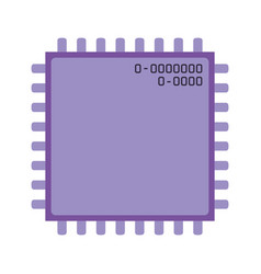 microchip closeup icon silhouette in purple color vector image vector image