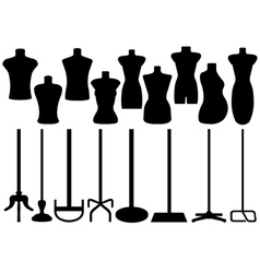 Set of different tailors mannequin vector