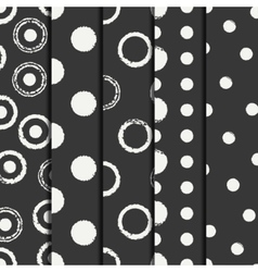 Set of hand drawn seamless pattern with black vector image