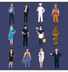 set workers team profession people uniform vector image