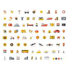 Travel flat icon set vector image