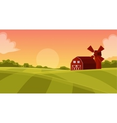 Wooden red hangar at the farmers field vector image