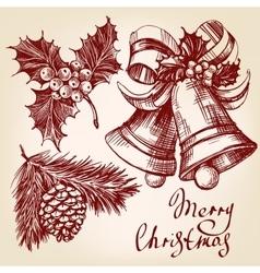 Christmas decorations set hand drawn vector image