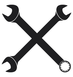 Crossed wrenches silhouette vector