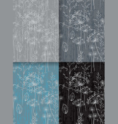 dandelion flower abstract pattern set collection vector image