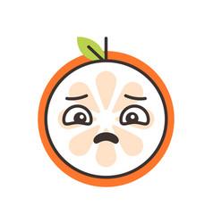 Emoji - sad orange feeling like crying isolated vector