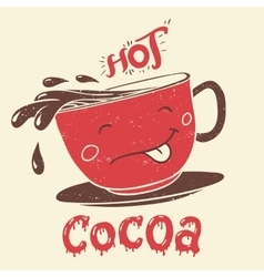 Funny cup of cocoa cartoon character vector image vector image