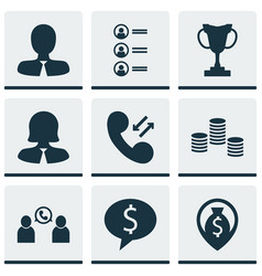 Set of 9 hr icons includes tournament manager vector