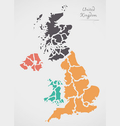 united kingdom map with states vector image