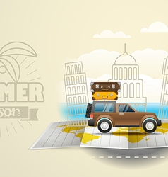 World map with the bus Vacation concept Summer vector image