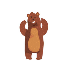 cheerful grizzly bear standing with paws up vector image vector image