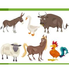 farm animals cartoon set vector image