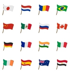 Flag icons set cartoon style vector image