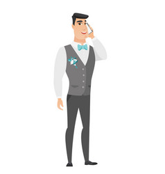 groom talking on a mobile phone vector image